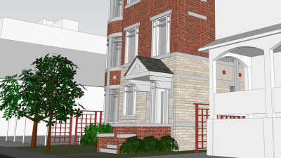 3D Image Showing Front Entry from Stewart Street