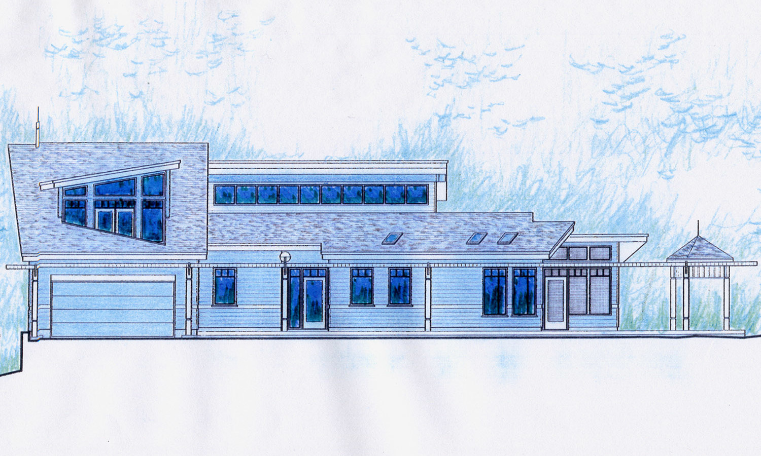 Elevation Sketch View of Front Elevation (Road Side)