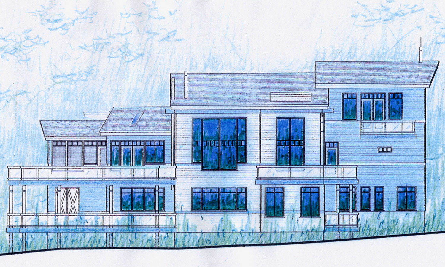 Elevation Sketch View of Rear Elevation (River Side)