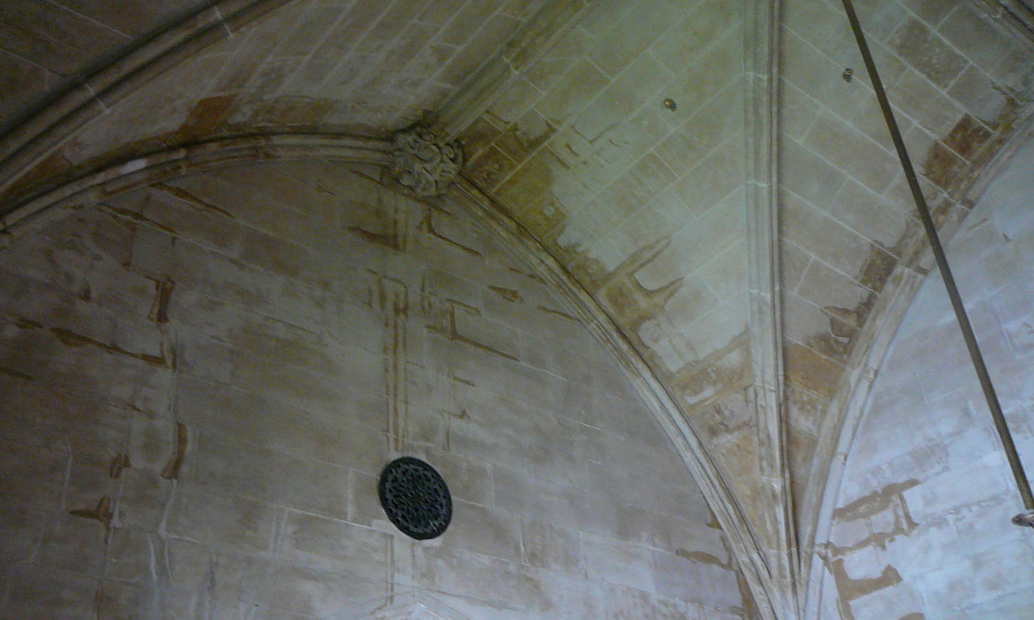 Interior Tower Ceiling with evidence of water infiltration