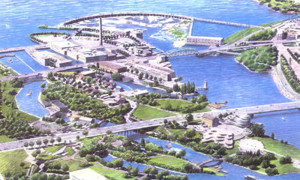 NCC Artist Rendering of Aerial Perspective Looking West Towards the Chaudière Falls