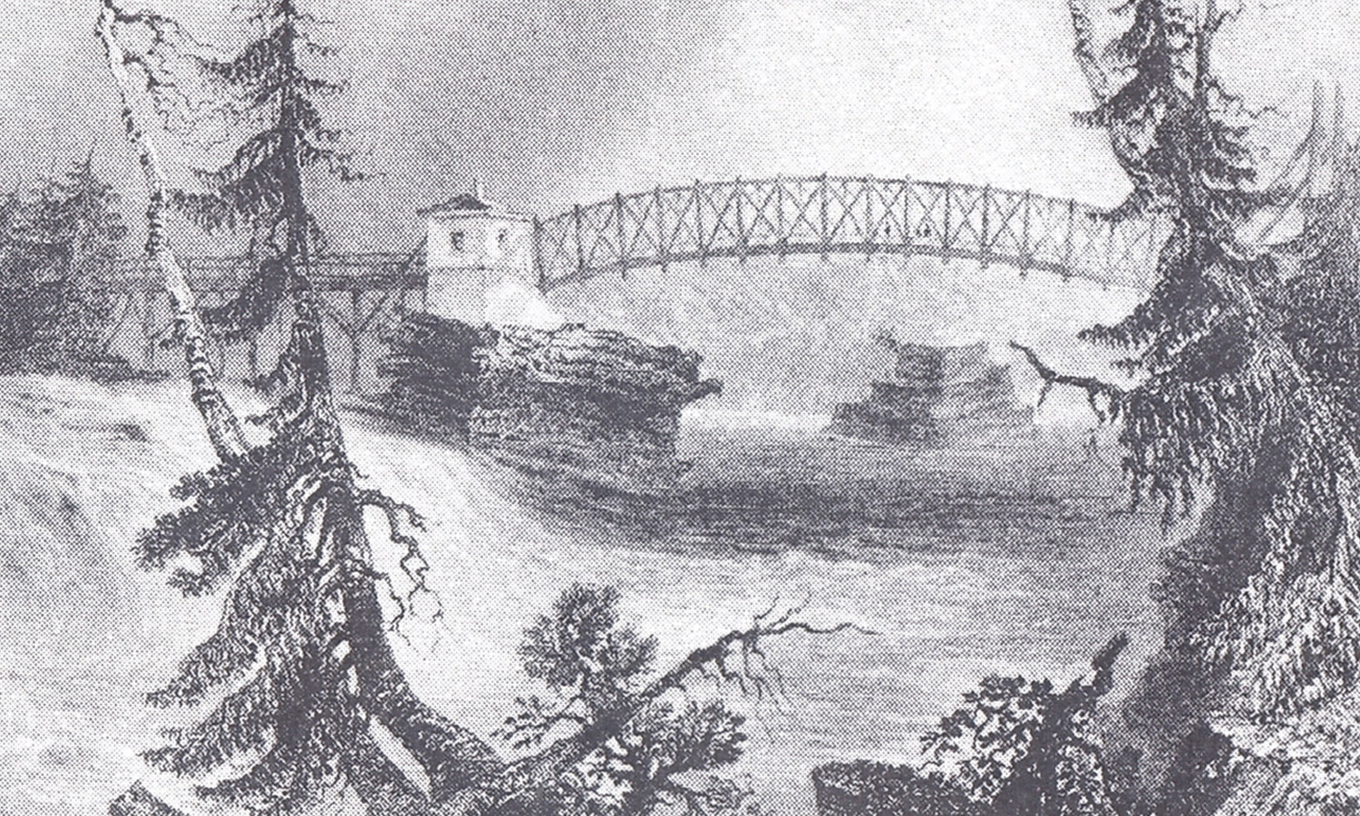 Historic Sketch by Bartlett Showing an Early Union Bridge Crossing of the Wild Ottawa River