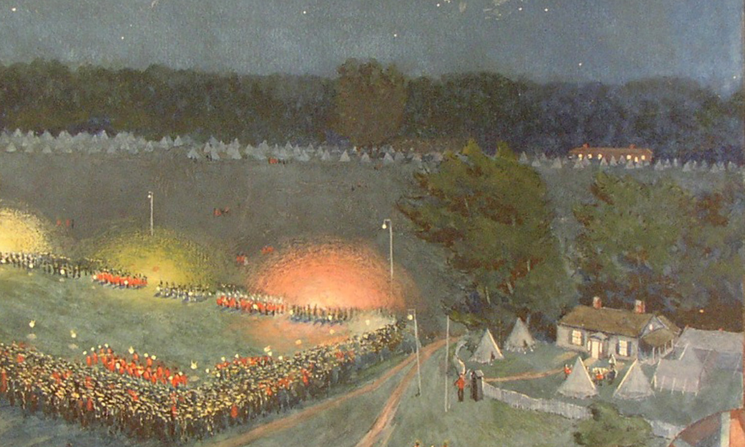 This E.Wyly Grier Painting Depicts Camp Niagara in 1899 in a Romantic Edwardian Ideal (i.e. Pre-WWI), Junior Commissariat Officer's Quarters on the Right - Courtesy of Niagara Historical Society
