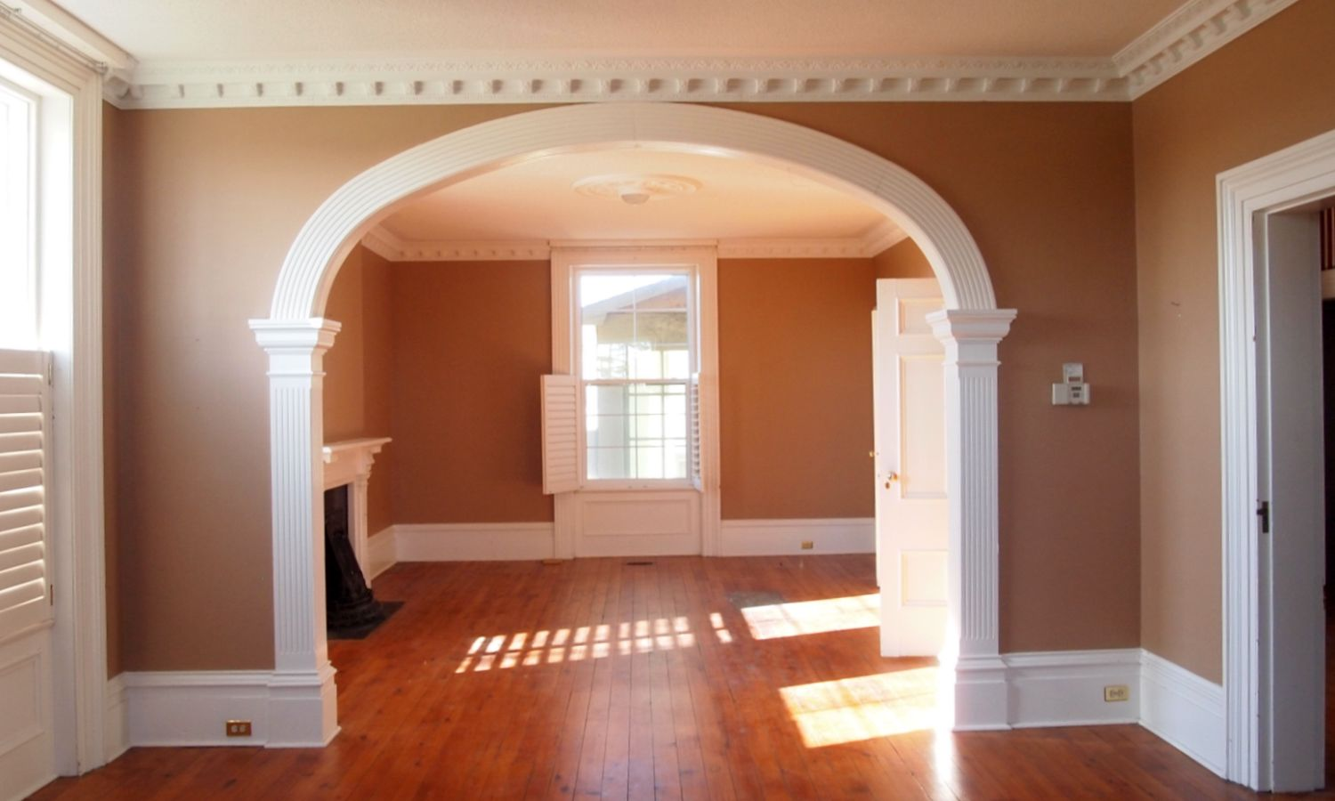 Archway illustrating trimwork found throughout the house