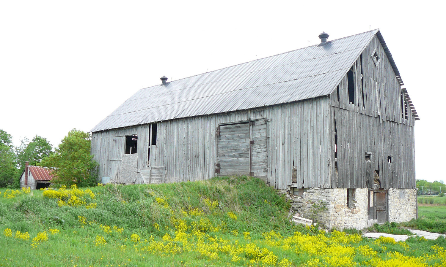 View of the Bank Barn Illustrating Built-up Earth Bank into the Second Level