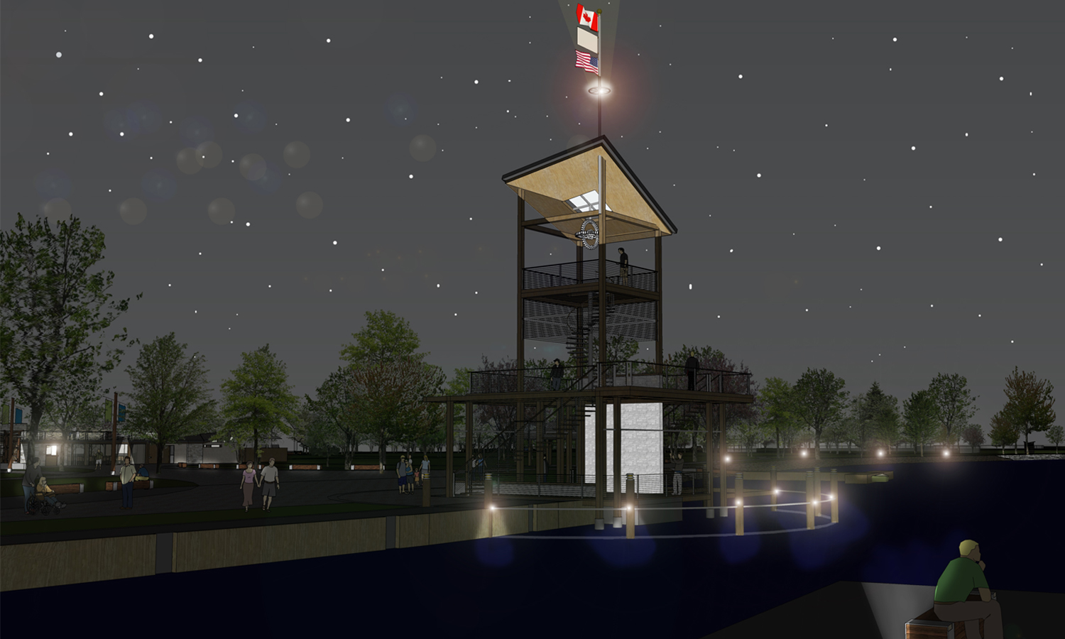 Night View: Look-out Tower from Dock