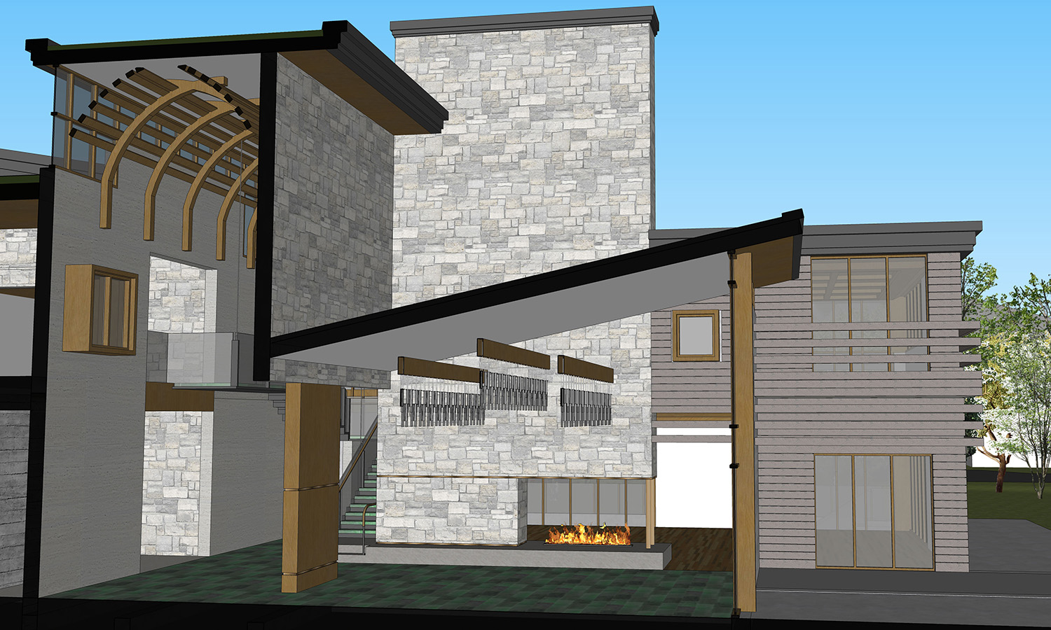Official wing cross section through the multi-storey entry hall and reception hall