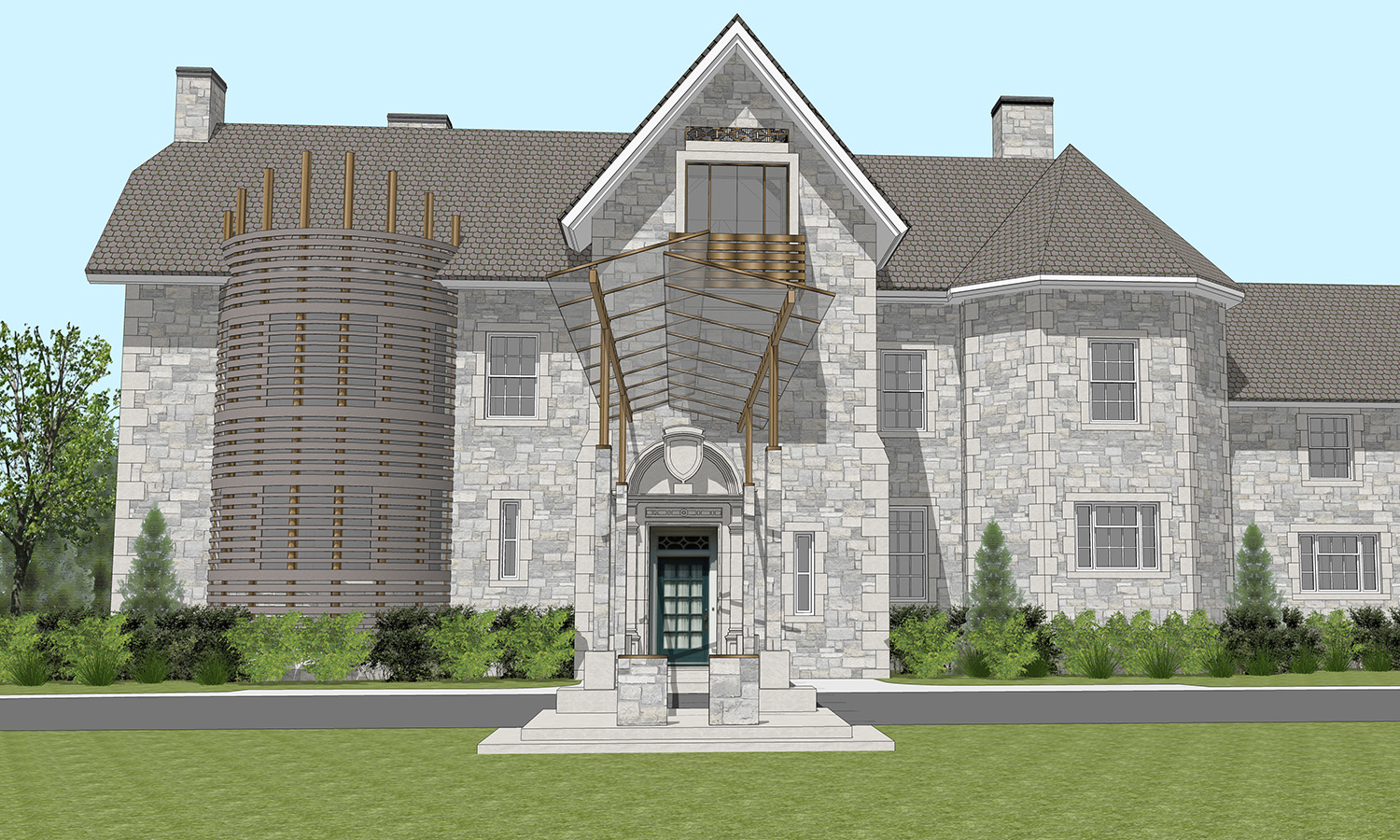 Front elevation of the main house complete with new reinterpreted architectural elements